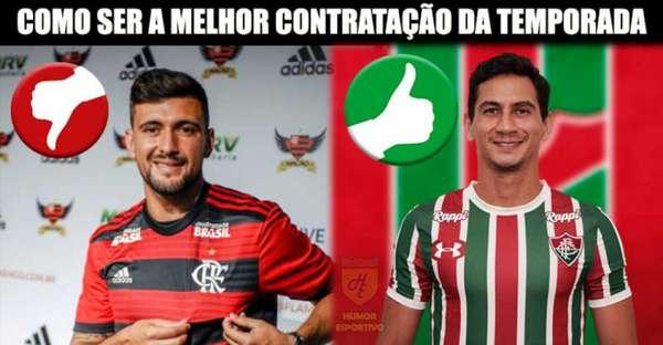 Torcedores do Fluminense comemoram acerto com PH Ganso