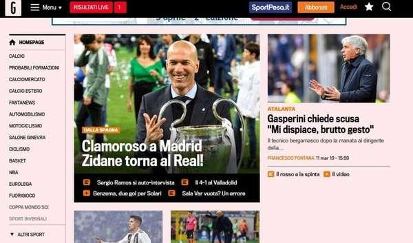 """La Gazzetta dello Sport - Anuncio foi trocado pela manchete """"Real Madrid, Zidane re-apresenta: 'Era impossível dizer não'"""""""