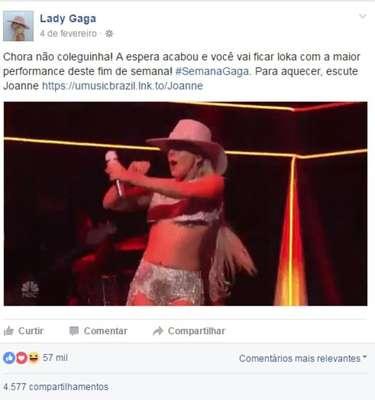 Quando a página da Lady Gaga citou Simone e Simaria - 'Chora não coleguinha. A espera acabou', disse a página, citando a música da dupla de 'feminejo' para anunciar a apresentação de Gaga no SuperBowl.