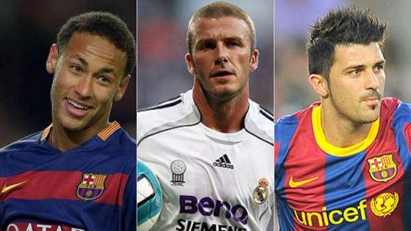 Neymar, Beckham e David Villa já foram disputados por Barça e Real. Hoje, o brasileiro está sendo cobiçado pelos dois clubes novamente
