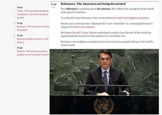 """Repercussão do discurso de Bolsonaro na ONU - O jornal inglês """"The Guardian"""" repercute fala de Bolsonaro na 74ª Assembleia-Geral das ONU."""
