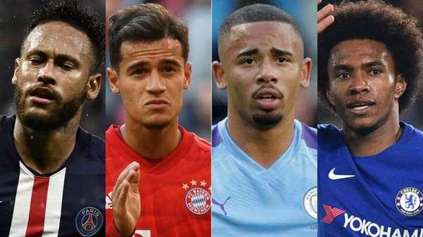 Neymar, Coutinho, Gabriel Jesus e Willian marcaram gols no fim de semana europeu. Veja a lista dos brasucas que se destacaram no Velho Continente: