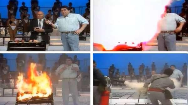 """Tá pegando fogo, bicho! - Nem sempre um programa ao vivo sai como esperado. Quem não se lembra de Faustão no 'Domingão', gritando: """"Tá pegando fogo, bicho! Chama o bombeiro lá!"""". Na ocasião, um inventor levou uma churrasqueira automática para o seu programa, em 1994. A ideia era fazer um belo churrasco, mas a máquina explodiu e bombeiros foram chamados para conter o fogo. Confira algumas ocasiões em que algo inesperado ocorreu em programas transmitidos em tempo real, e lembre-se: Quem sabe faz ao vivo!"""