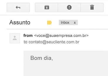 O nome da sua empresa no seu e-mail.